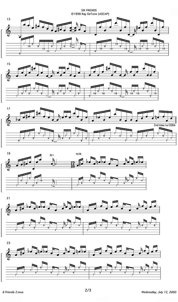 Ray DeTone Six Friends Lesson notation